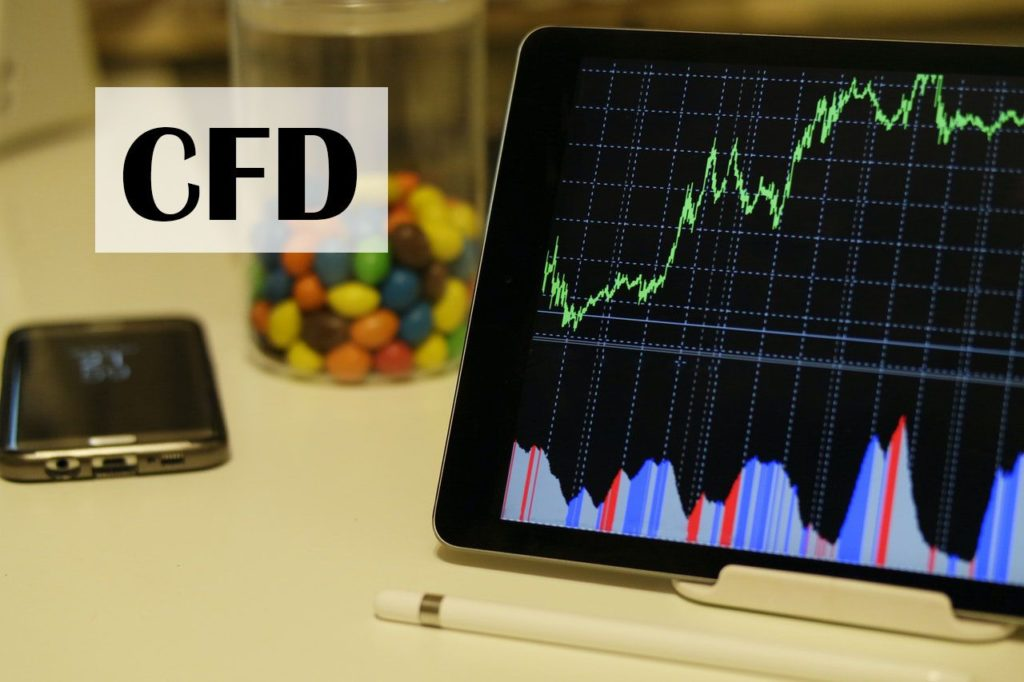 CFD trading graphs showing on a tablet's screen