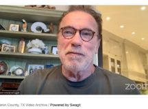 "Arnold Schwarzenegger opens ""super center"" for voters"