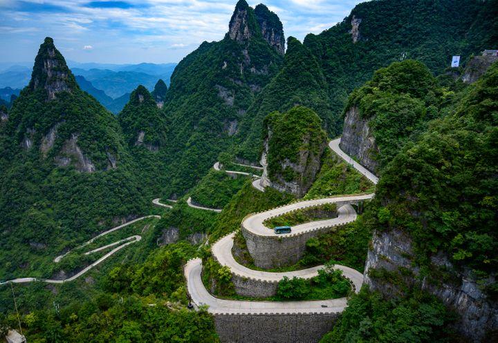 The Tianmen Mountain 99-Bend Road, China