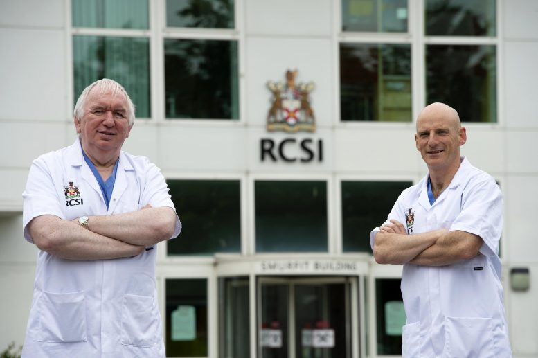 Professor Gerry McElvaney (left), the study's senior author and a consultant in Beaumont Hospital, and Professor Ger Curley (right) stand in front of the RCSI Education and Research Centre in Beaumont Hospital, Dublin. Credit: Ray Lohan