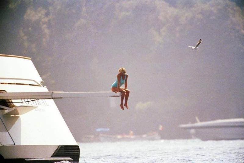 Princess Diana on a yacht in Portofino, Italy, one week before she passed in 1997